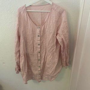 Belgian linen blouse top pink